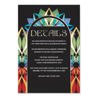 Colorful Peace Flower Wedding Details Card