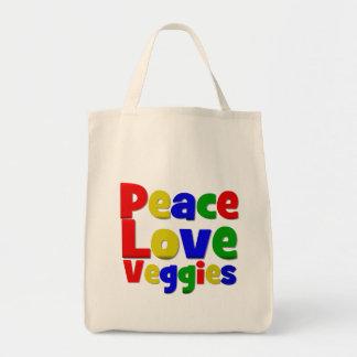 Colorful Peace Love Veggies Bags