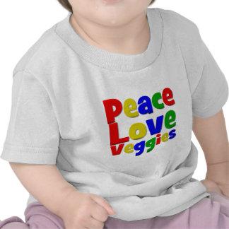 Colorful Peace Love Veggies Tees