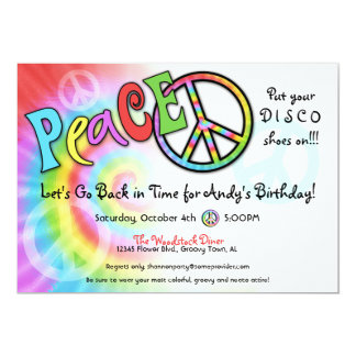 Colorful PEACE Party Invitation