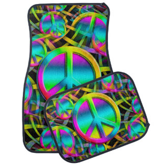 Colorful PEACE seamless pattern + your ideas Car Mat