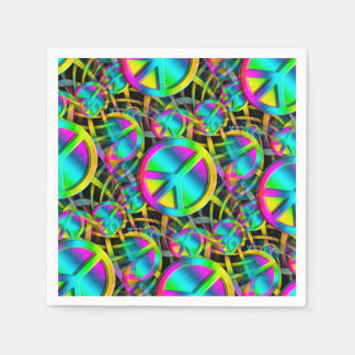 Colorful PEACE seamless pattern + your ideas Disposable Napkin