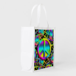 Colorful PEACE seamless pattern + your ideas Reusable Grocery Bag