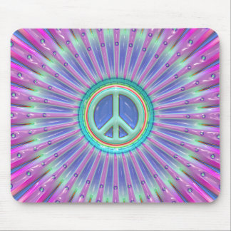 Colorful Peace Sign Burst Mouse Pad