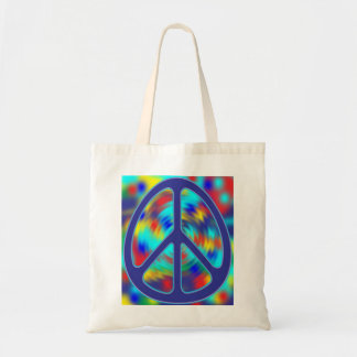 colorful peace sign design tote bag