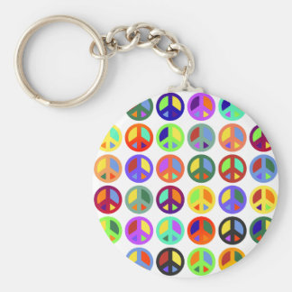 Colorful Peace Signs Basic Round Button Key Ring