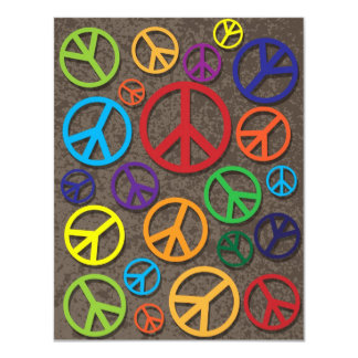 Colorful Peace Symbols Signs on Grunge Background 11 Cm X 14 Cm Invitation Card