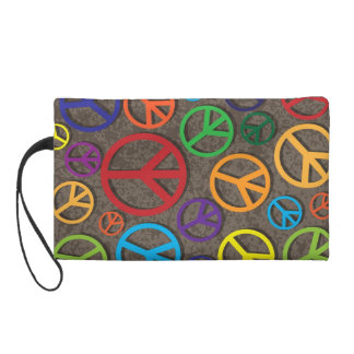 Colorful Peace Symbols Signs on Grunge Background Wristlets
