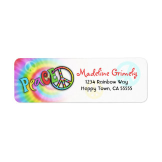 Colorful PEACE Tie Dye Address Label- Small Return Address Label
