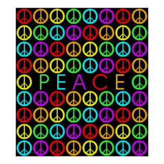 Colorful PEACE w/peace signs Poster