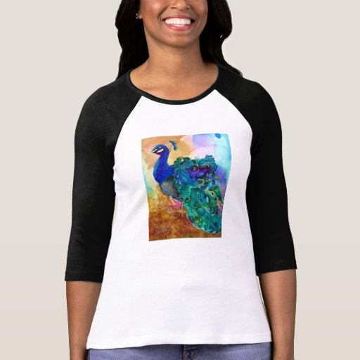 Colorful Peacock Alcohol Ink Tee Shirts