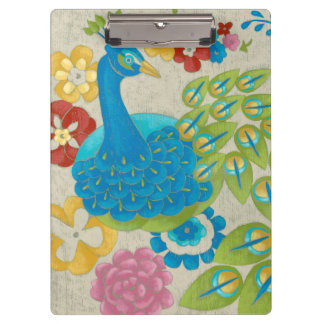 Colorful Peacock and Flowers Clipboard
