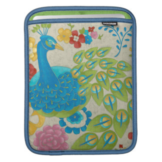 Colorful Peacock and Flowers iPad Sleeve