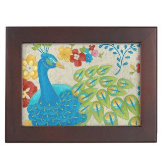 Colorful Peacock and Flowers Keepsake Box