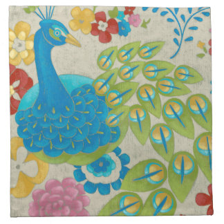 Colorful Peacock and Flowers Napkin