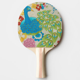 Colorful Peacock and Flowers Ping Pong Paddle