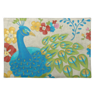 Colorful Peacock and Flowers Placemat