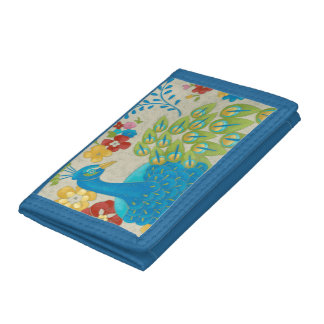 Colorful Peacock and Flowers Tri-fold Wallets