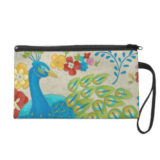 Colorful Peacock and Flowers Wristlet