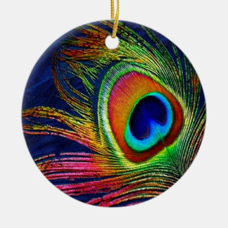 Colorful Peacock Feather Print Round Ceramic Decoration