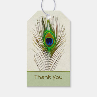 Colorful peacock feather Wedding Gift tag