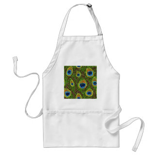 Colorful Peacock Feathers Print Standard Apron