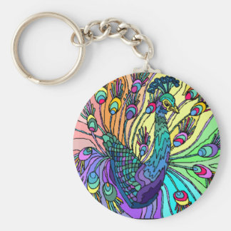 COLORFUL PEACOCK PEAFOWL KEY-CHAIN KEY RING