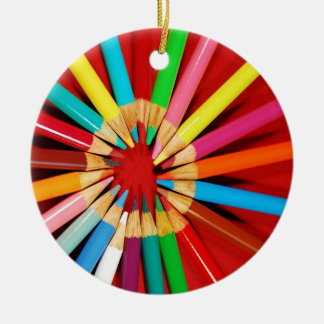 Colorful pencil crayon christmas ornament