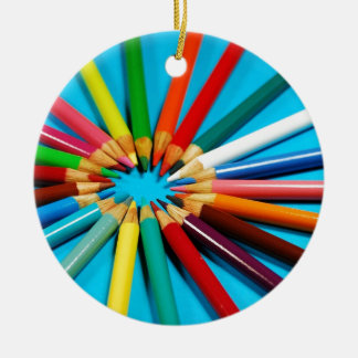 Colorful pencil crayons pattern round ceramic decoration