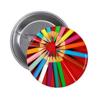 Colorful pencil crayons print 6 cm round badge
