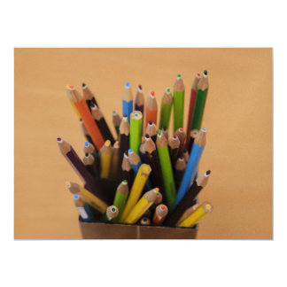 Colorful pencils 17 cm x 22 cm invitation card