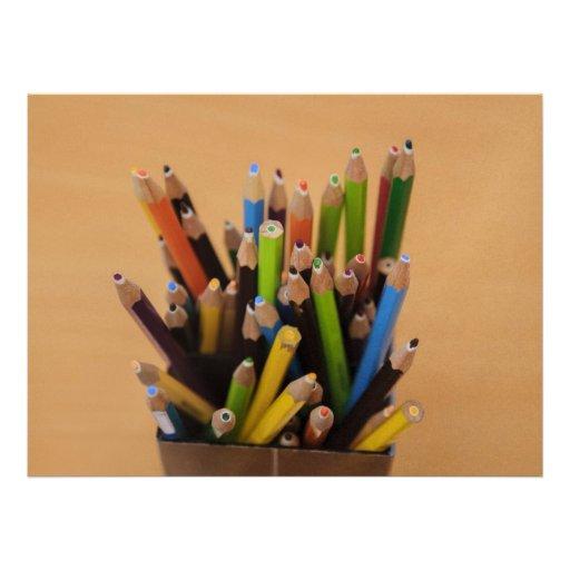 Colorful pencils announcement