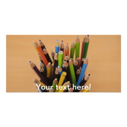 Colorful pencils personalized photo card