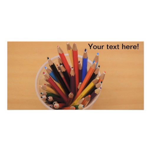 Colorful pencils customized photo card