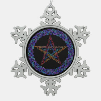 Colorful Pentagram New Age Wicca Pewter Snowflake Pewter Snowflake Decoration