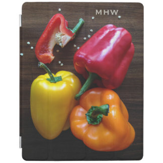 Colorful Peppers custom monogram device covers iPad Cover