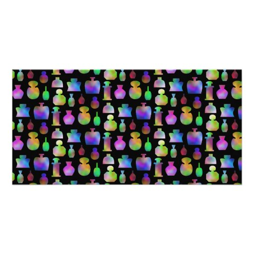 Colorful Perfume Bottles Pattern. Photo Card Template