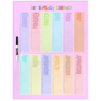 Colorful Perpetual Birthday Calendar Dry-Erase Boards