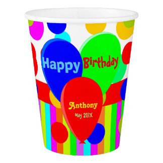 Colorful personalized balloons paper cup