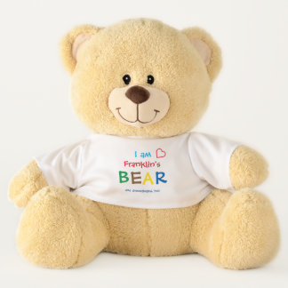Colorful Personalized Bear with Red Heart