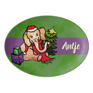 Colorful Personalized Cartoon Elephants Christmas Porcelain Serving Platter