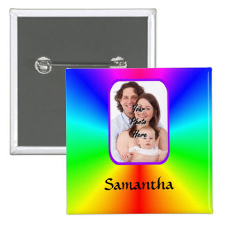 Colorful personalized photo background buttons