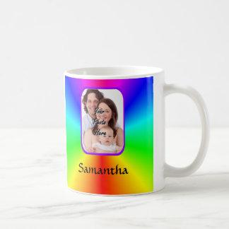 Colorful personalized photo background basic white mug