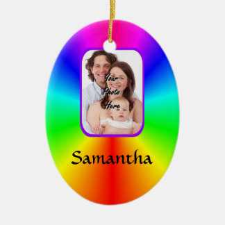 Colorful personalized photo background ceramic oval decoration
