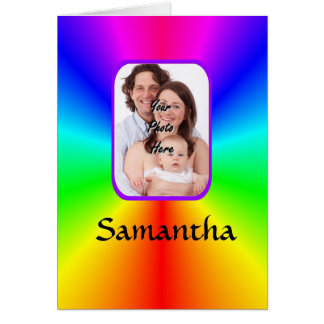 Colorful personalized photo background greeting card