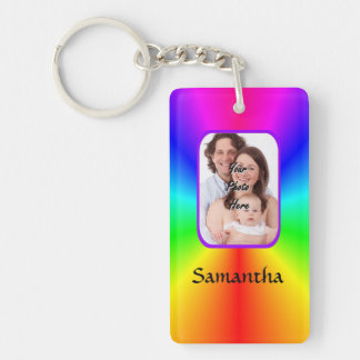 Colorful personalized photo background key chain