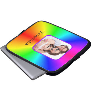 Colorful personalized photo background computer sleeves