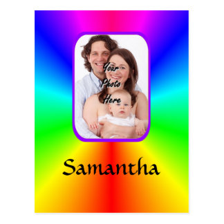 Colorful personalized photo background postcard