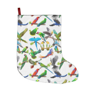 Colorful Pet Parrots Christmas Stocking