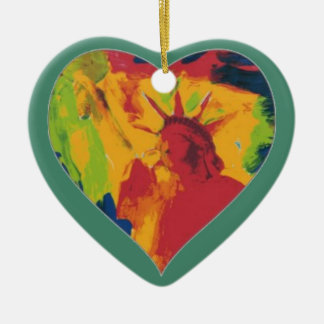 colorful peter max style Liberty Heart ornament